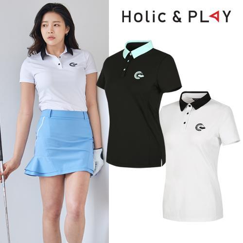 홀릭앤플레이 여성 팝 컬러 반팔티셔츠 (HA2WTS007)