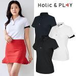 홀릭앤플레이 여성 소매 컬러 반팔티셔츠 (HA2WTS006)