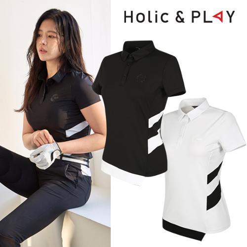 홀릭앤플레이 여성 사선 배색 반팔티셔츠 (HA2WTS003)