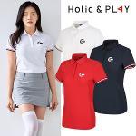 홀릭앤플레이 여성 컬러 소매 반팔티셔츠 (HA2WTS001)