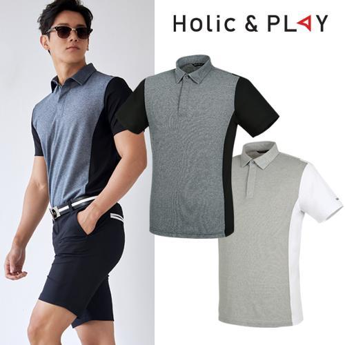 홀릭앤플레이 남성 투톤 컬러 반팔티셔츠 (HA2MTS010)