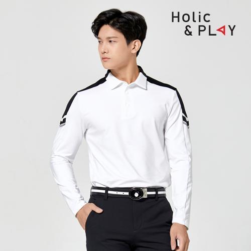 홀릭앤플레이 남성 소매 배색 긴팔티셔츠 HA3MTS003WH