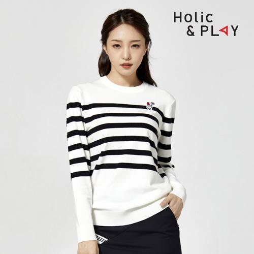 홀릭앤플레이 여성 라운드 니트 스웨터 HA3MSW003WH