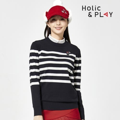 홀릭앤플레이 여성 라운드 니트 스웨터 HA3MSW003DN