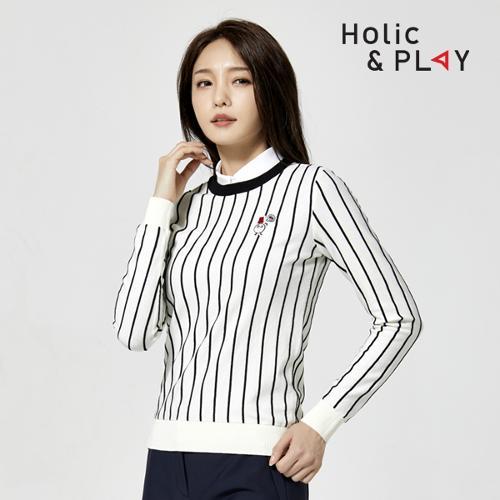 홀릭앤플레이 여성 세로라인 니트 스웨터 HA3WSW002WH