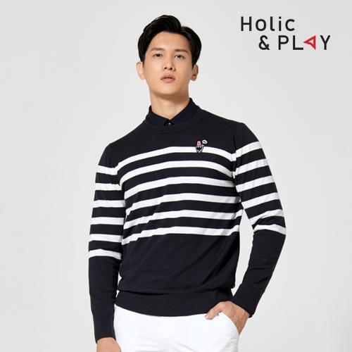 홀릭앤플레이 남성 라운드 니트 스웨터 HA3MSW003DN