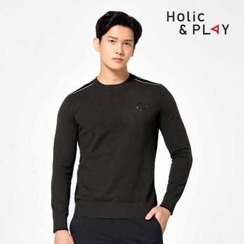 홀릭앤플레이 남성 라운드 니트 스웨터 HA3MSW001KH