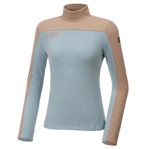[와이드앵글] 여성 배색 하이넥 긴팔 기모티셔츠 L WWW20243G2