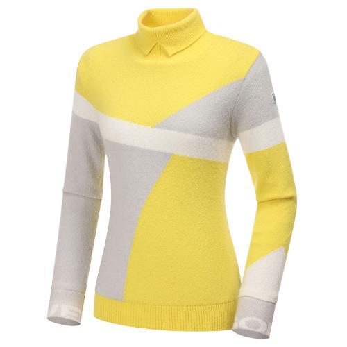 [와이드앵글] 여성 빅패턴 하이넥 방풍 긴팔 스웨터 L WWW20K45Y4