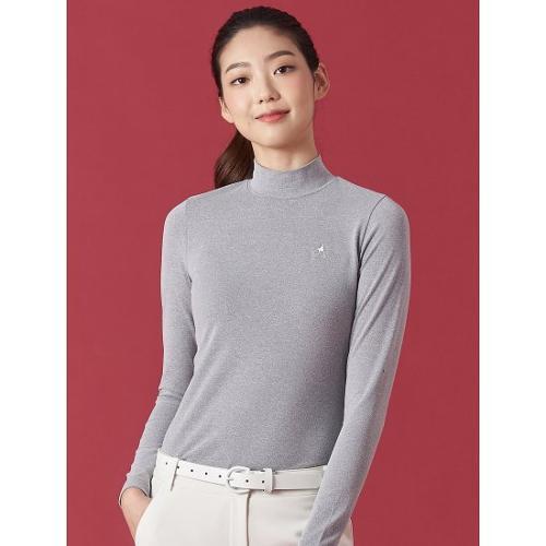 [빈폴골프] 여성 그레이 솔리드 하이넥 발열 티셔츠 (BJ0941OA33)