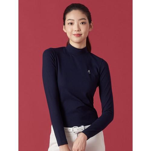 [빈폴골프] 여성 네이비 솔리드 하이넥 발열 티셔츠 (BJ0941OA3R)