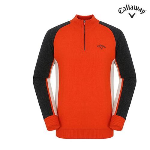 [캘러웨이]남성 배색 반집업 스웨터 CMSHF4202-301_G
