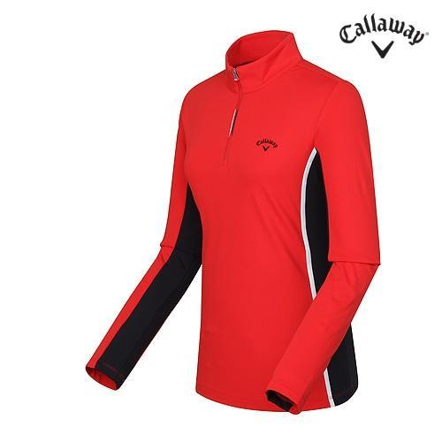 [캘러웨이]여성 배색포인트 기능성 반집업 티셔츠 CWTHF8151-500_G
