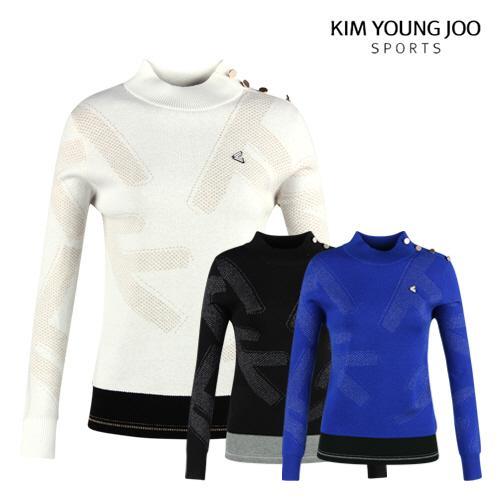 김영주스포츠 여성 라운드 넥 울 니트 셔츠 LB20A606W