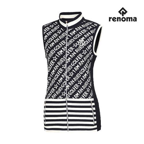 [레노마골프]여성 자가드 레터링 패턴 니트 집업 베스트 RWSVF8209-120_G