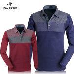 [JEAN PIERRE] 쟌피엘 배색 패턴 포인트 긴팔 카라티셔츠 Model No_J2-0E092