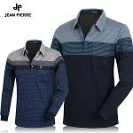 [JEAN PIERRE] 쟌피엘 줄무늬 배색 포인트 카라 긴팔티셔츠 Model No_J2-0E091