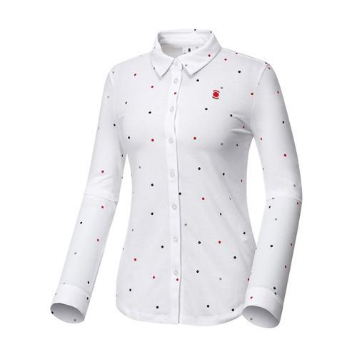 [와이드앵글] 여성 도트패턴 셔츠형 긴팔 티셔츠 WWU17240W2