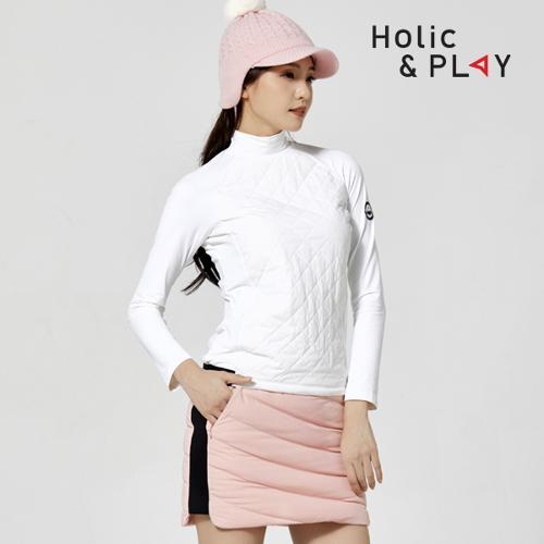 홀릭앤플레이 여성 방한 퀼팅 긴팔티셔츠 HA4WTS002WH