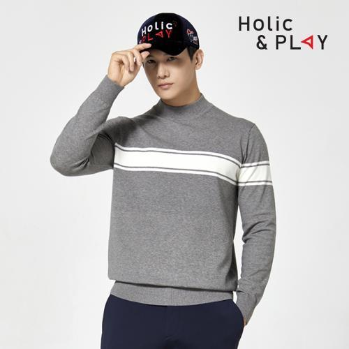 홀릭앤플레이 남성 터틀 니트 스웨터 HA4MSW001MG
