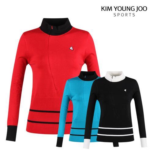 김영주스포츠 여성 반목 집업 니트 셔츠 LB20A608W