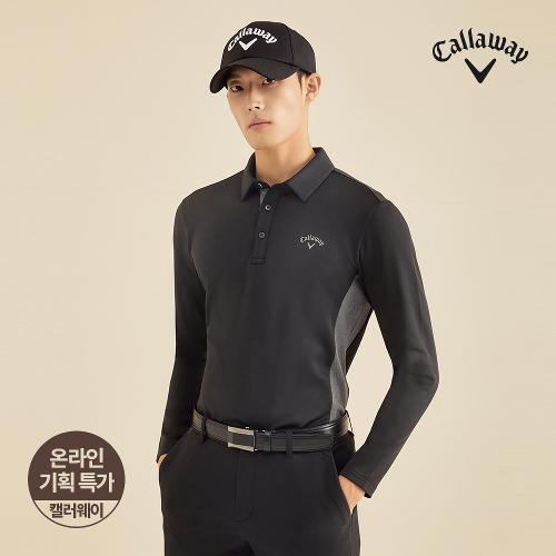 [캘러웨이]기획 남성 기모 배색 카라 긴팔 티셔츠 CMTYJ4652-199_G