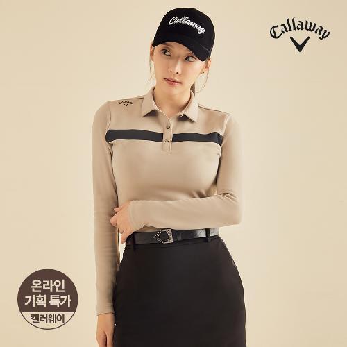 [캘러웨이]기획 여성 기모 배색 포인트 티셔츠 CWTYJ8652-509_G