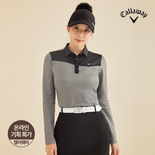 [캘러웨이]기획 여성 기모 배색 카라 긴팔 티셔츠 CWTYJ8751-193_G