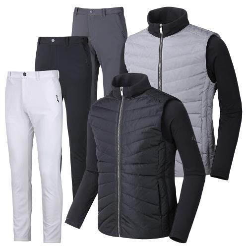 (넥워머증정) 듀라핏 코디세트 덕다운 패딩 자켓+허리밴딩 남성 기모 골프바지 JK04PT02