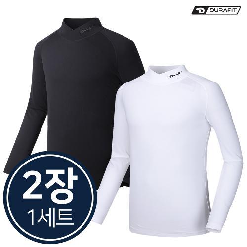 (2장1세트)듀라핏 남성 컴프레션 써모핏 V 하프넥 기모 티셔츠 LT01LT01