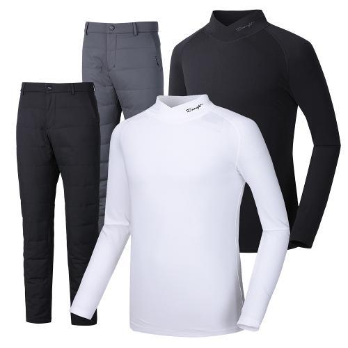 (코디세트)듀라핏 남성 덕다운 패딩 골프바지+하프넥 기모 티셔츠 PT03LT01