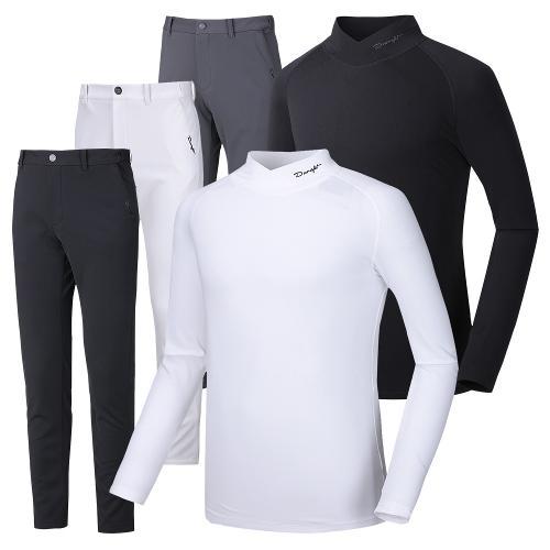 (코디세트)듀라핏 남성 기모 골프바지+하프넥 기모 티셔츠 PT02LT01