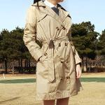 여성 골프우의 방수 바람막이 비옷 레인코트 트렌치코트 베이지