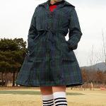 여성 골프우의 방수 바람막이 비옷 레인코트 트렌치코트 체크그린