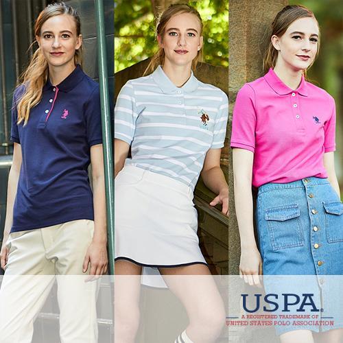[USPA] 순면 화이트라벨 여성 카라넥 반팔티셔츠 3종 택1/골프웨어_253258