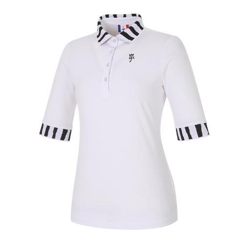 여성 지브라 포인트 반팔 티셔츠_BG9STS507WH