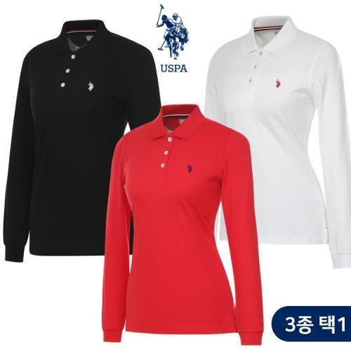 [USPA] 면스판 베이직 로고자수 여성 카라넥 긴팔티셔츠 3종 택1/골프웨어_253352