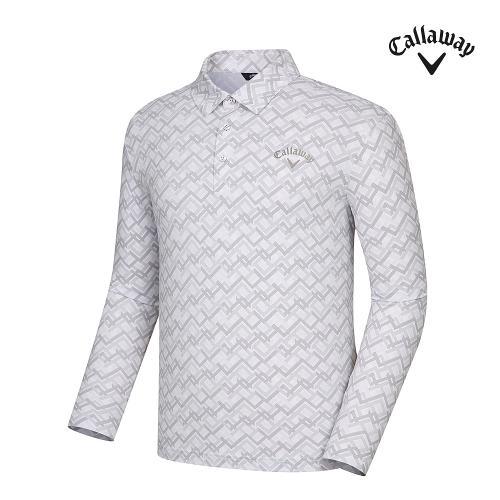[캘러웨이]21SS 남성 조직감 프린트 카라 티셔츠 CMTYK1171-100_G