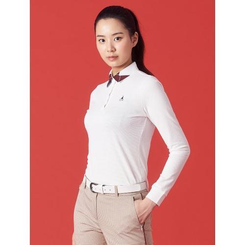 [빈폴골프] 여성 화이트 에센셜 아가일 칼라 티셔츠 (BJ1141A711)