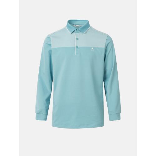 [빈폴골프] 남성 스카이 블루 투톤 블록 에센셜 칼라 티셔츠 (BJ1141B71Q)