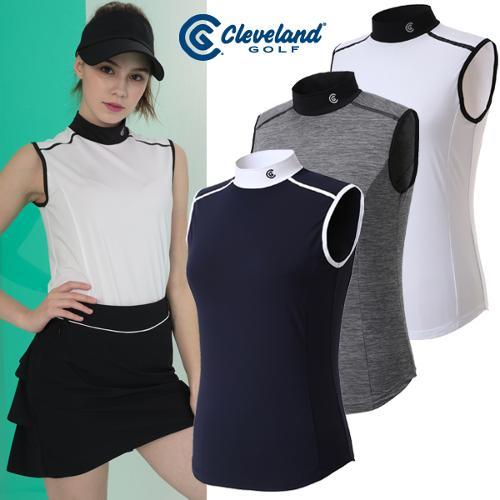 [클리브랜드골프] 싱글스판 어깨 배색 여성 스포티 민소매티셔츠/골프웨어_CGKWTS082x