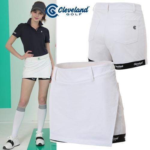 [클리브랜드골프] 밑단 배색 로고 포인트 여성 랩스커트형 골프반바지/골프웨어_CGKWPT090x