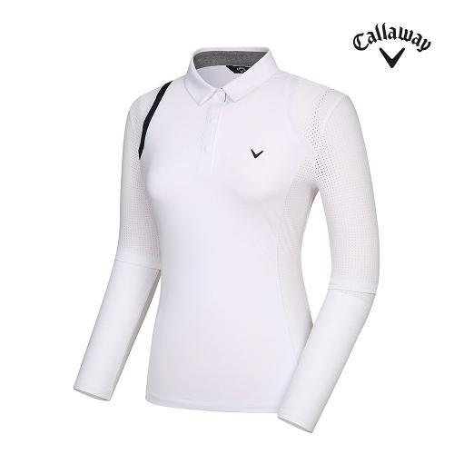 [캘러웨이]기획 여성 냉감 소매 펀칭 카라 티셔츠 CWTYJ5456-100_G