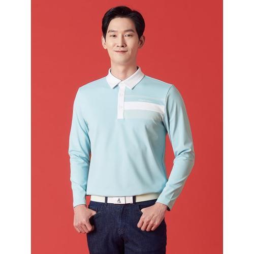 [빈폴골프] 남성 스카이 블루 도트 포인트 칼라 티셔츠 (BJ1141B08Q)