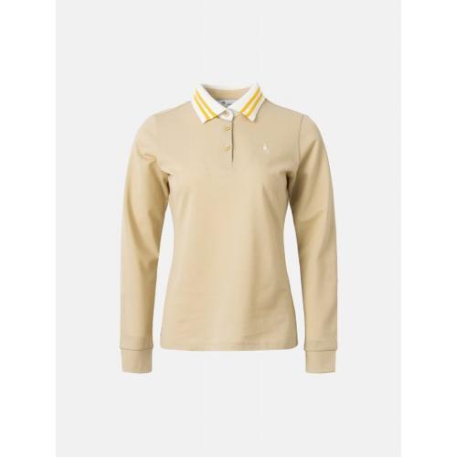 [빈폴골프] 여성 베이지 배색 라인 칼라 티셔츠 (BJ1241A06A)