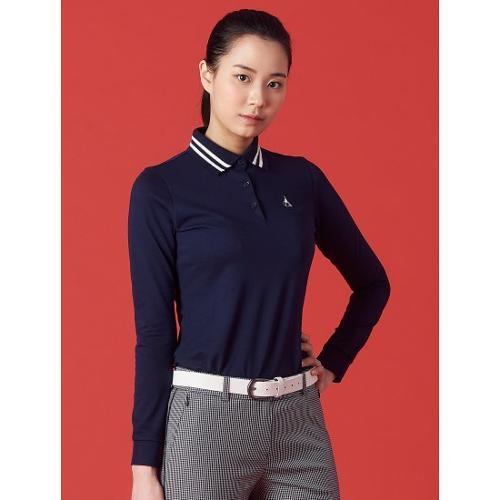 [빈폴골프] 여성 네이비 배색 라인 칼라 티셔츠 (BJ1241A06R)