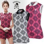 [세바스찬골프] 일러스트 꽃무늬 여성 카라넥 민소매 티셔츠/골프웨어_254058