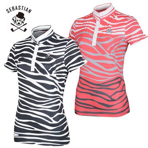 [세바스찬골프] 지브라 패턴 소매주름 여성 변형 이중넥 반팔티셔츠/골프웨어_254051