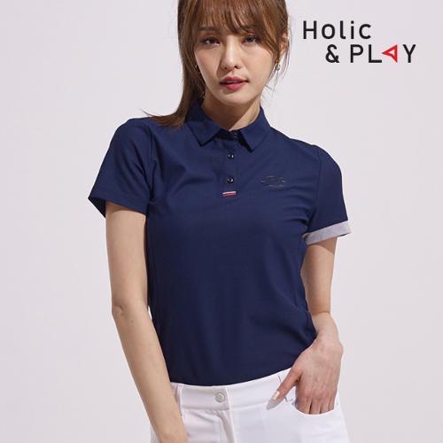 홀릭앤플레이 여성 소매 컬러 반팔티셔츠 HA2WTS006NY