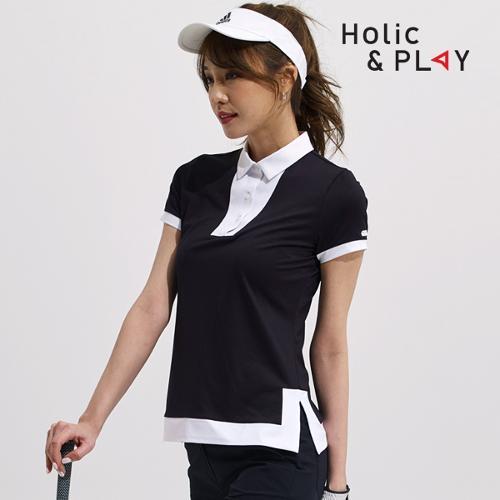 홀릭앤플레이 여성 포멀 배색 반팔티셔츠 HA2WTS009BK